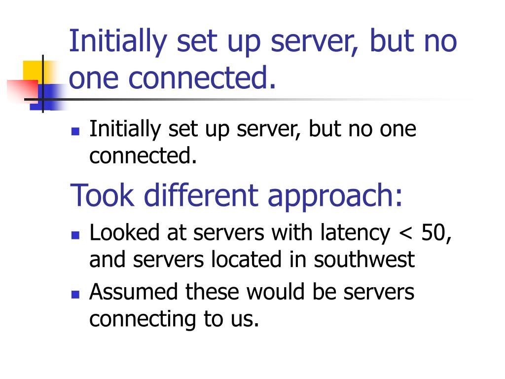 Initially set up server, but no one connected.
