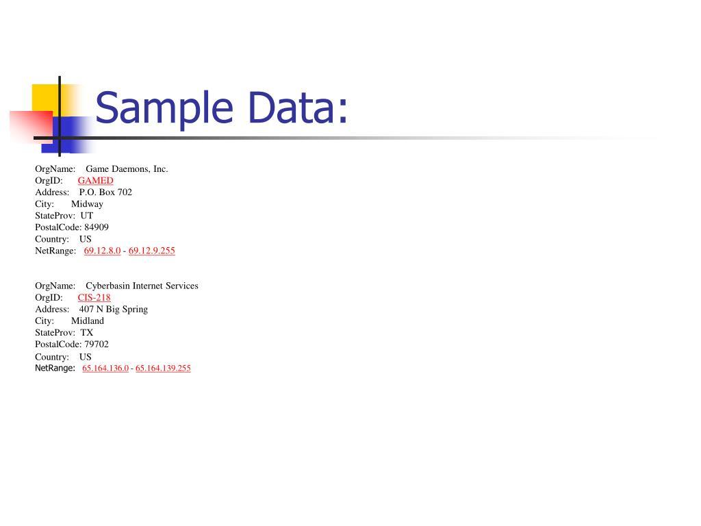 Sample Data: