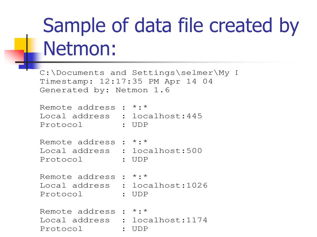 Sample of data file created by Netmon: