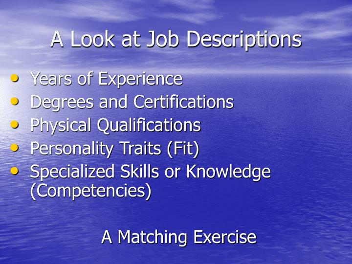 A Look at Job Descriptions