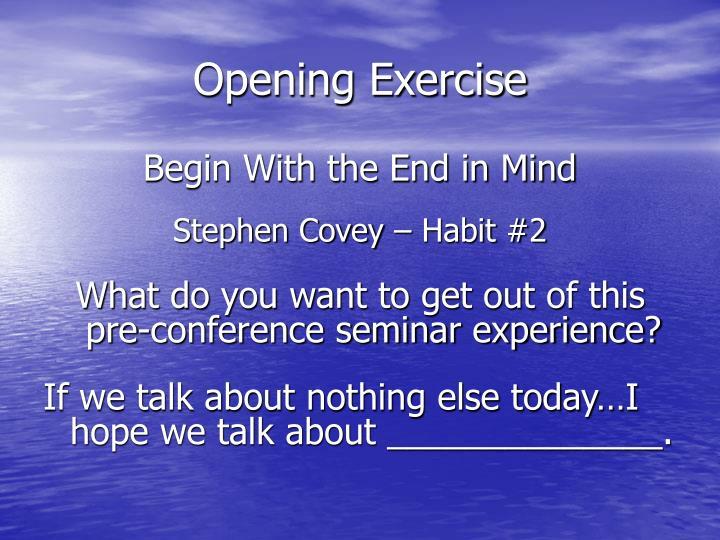 Opening Exercise