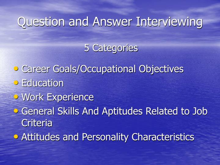 Question and Answer Interviewing
