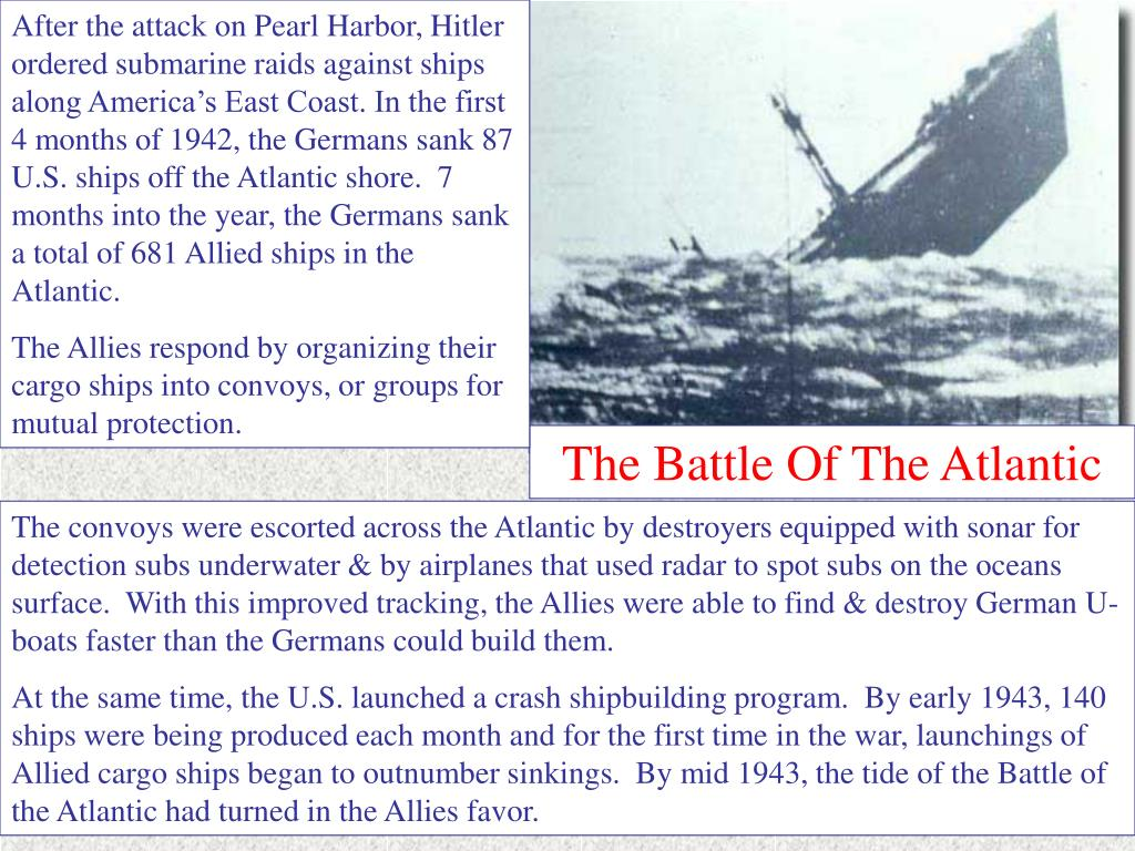 After the attack on Pearl Harbor, Hitler ordered submarine raids against ships along America's East Coast. In the first 4 months of 1942, the Germans sank 87 U.S. ships off the Atlantic shore.  7 months into the year, the Germans sank a total of 681 Allied ships in the Atlantic.