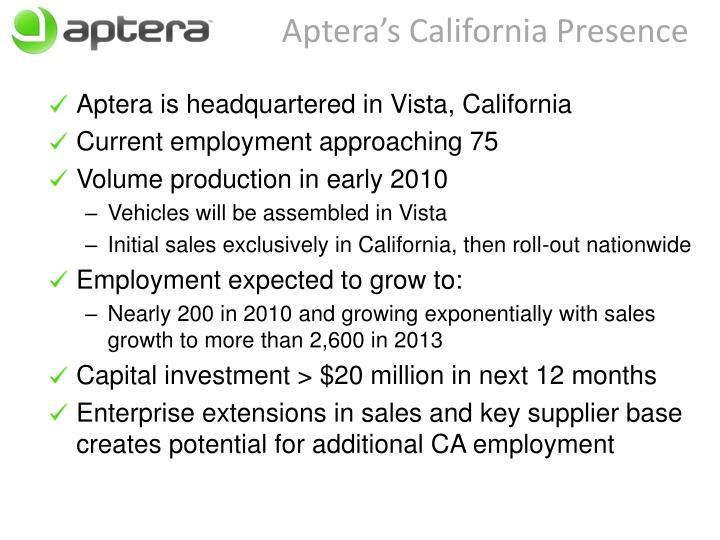 Aptera's California Presence