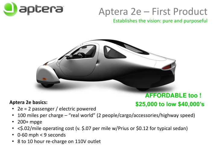 Aptera 2e – First Product