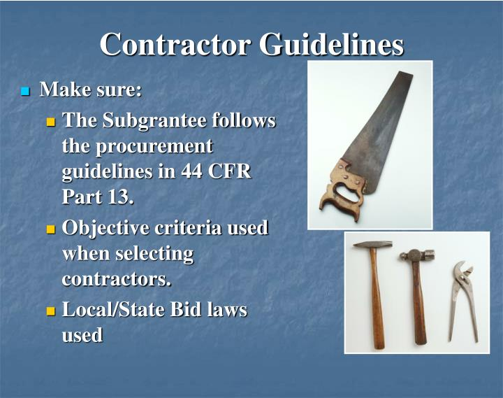 Contractor Guidelines
