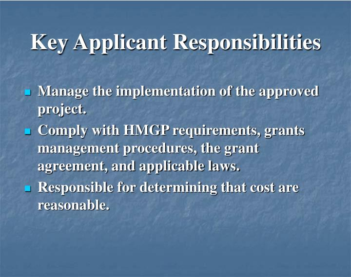 Key Applicant Responsibilities