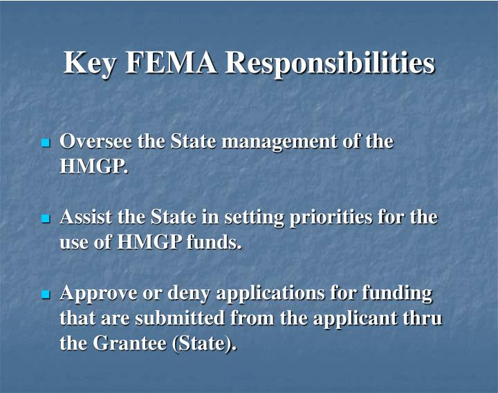 Key FEMA Responsibilities