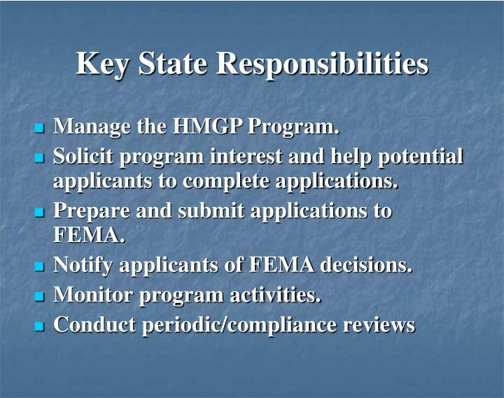 Key State Responsibilities