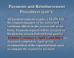 payments and reimbursement procedures con t1