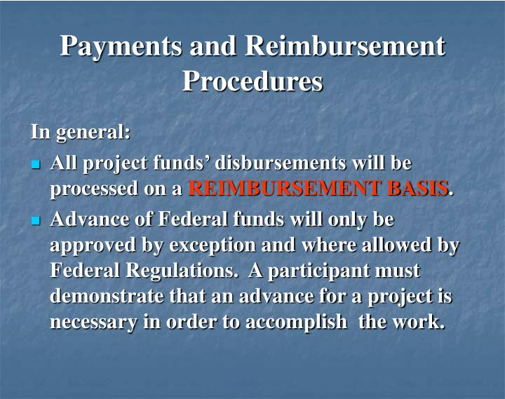 Payments and Reimbursement Procedures