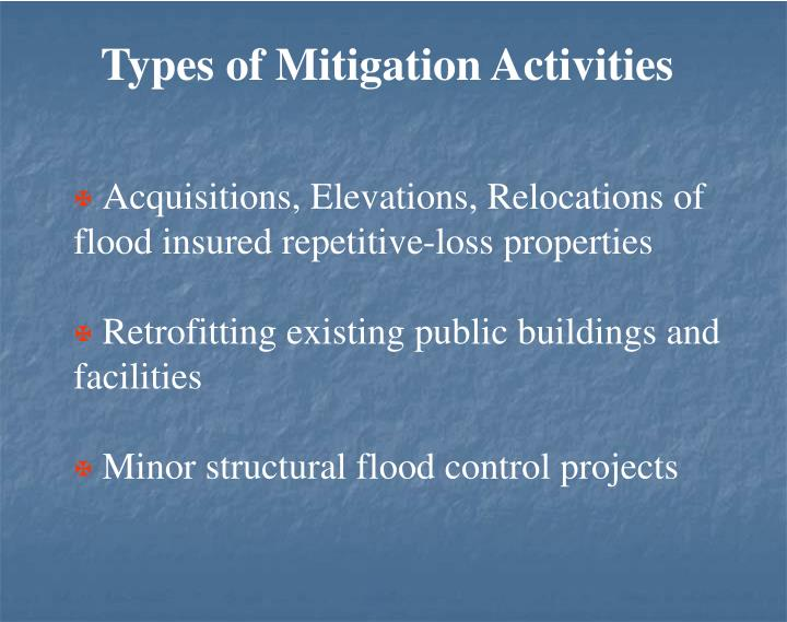 Types of Mitigation Activities