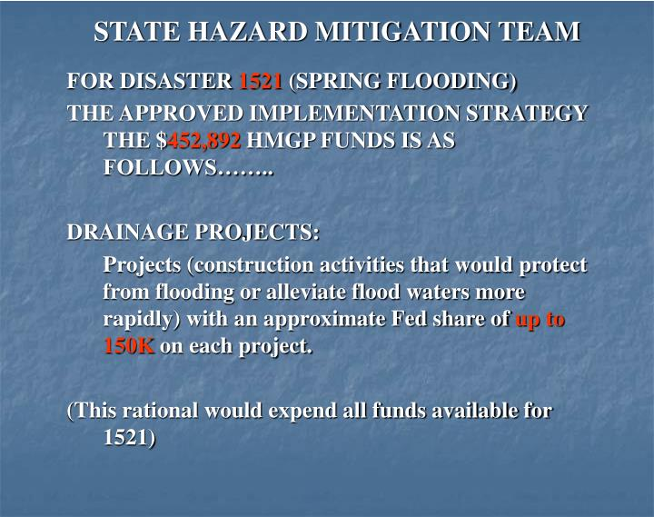 STATE HAZARD MITIGATION TEAM