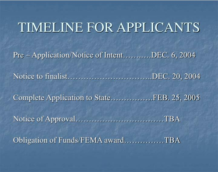 TIMELINE FOR APPLICANTS