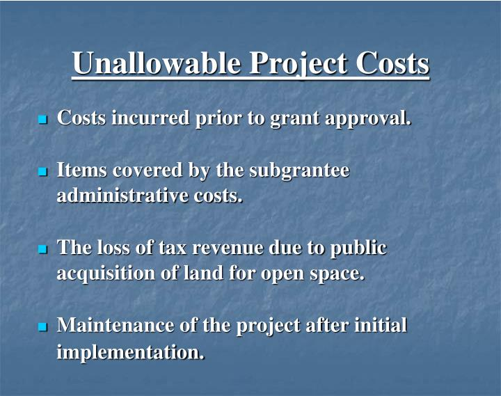 Unallowable Project Costs