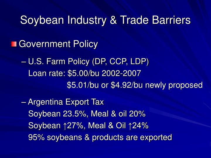 Soybean Industry & Trade Barriers