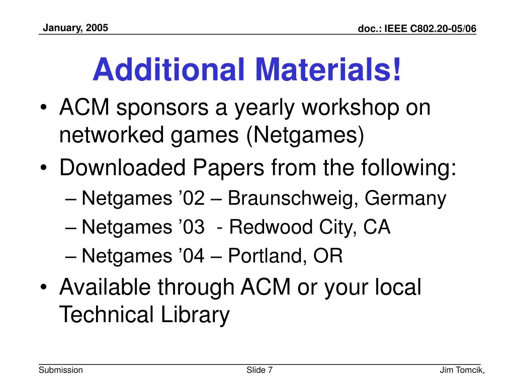 Additional Materials!