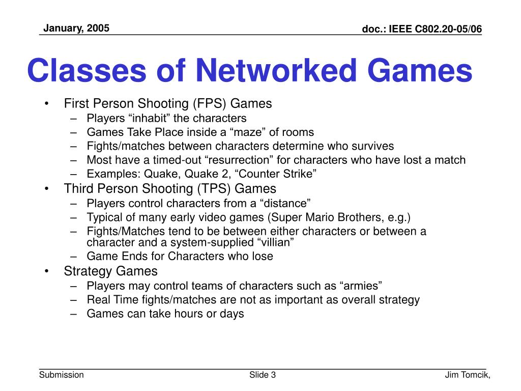 Classes of Networked Games
