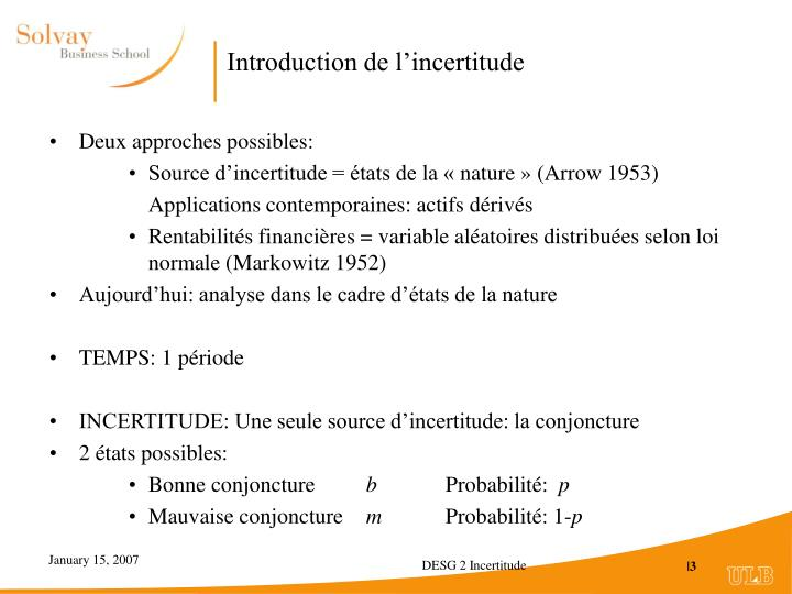 Introduction de l incertitude