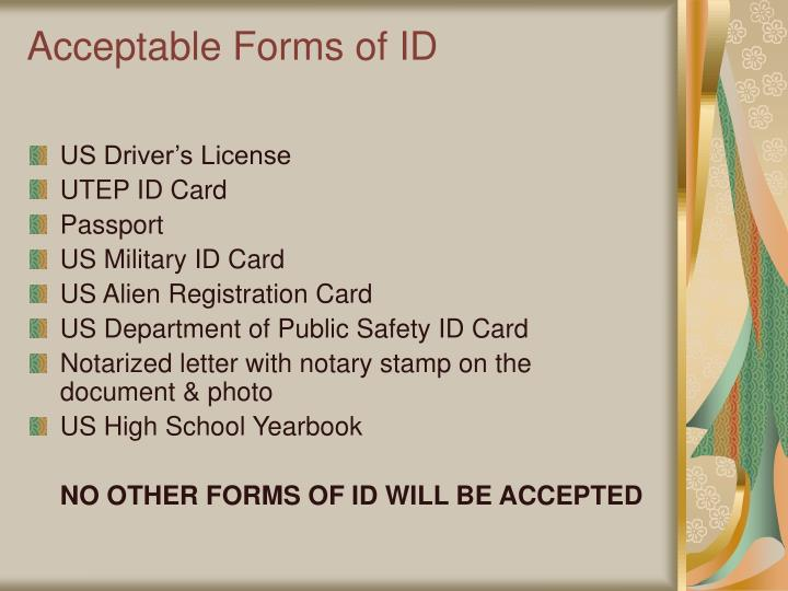 Acceptable Forms of ID