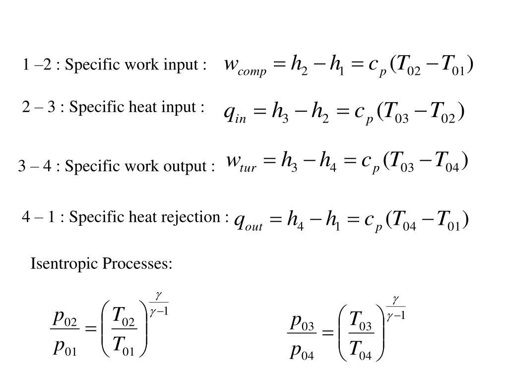 1 –2 : Specific work input :