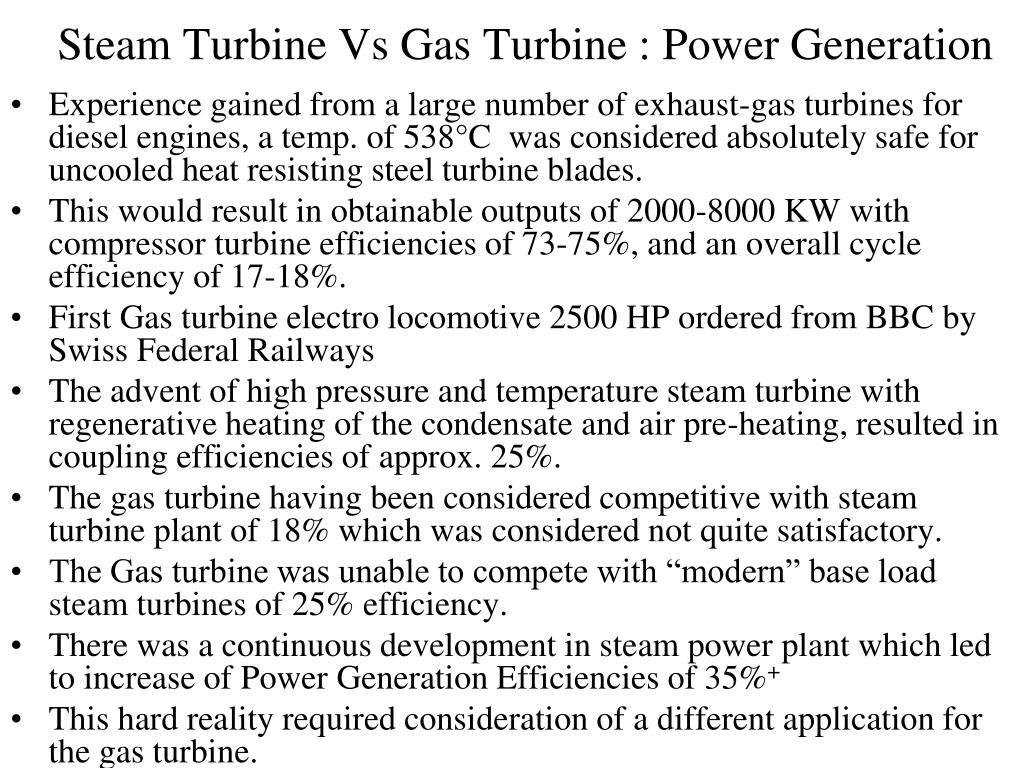 Steam Turbine Vs Gas Turbine : Power Generation
