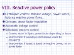 viii reactive power policy