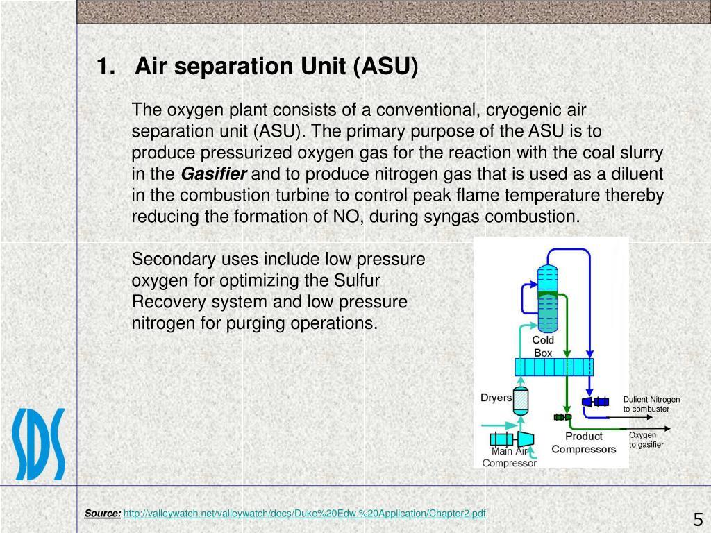 1.   Air separation Unit (ASU)