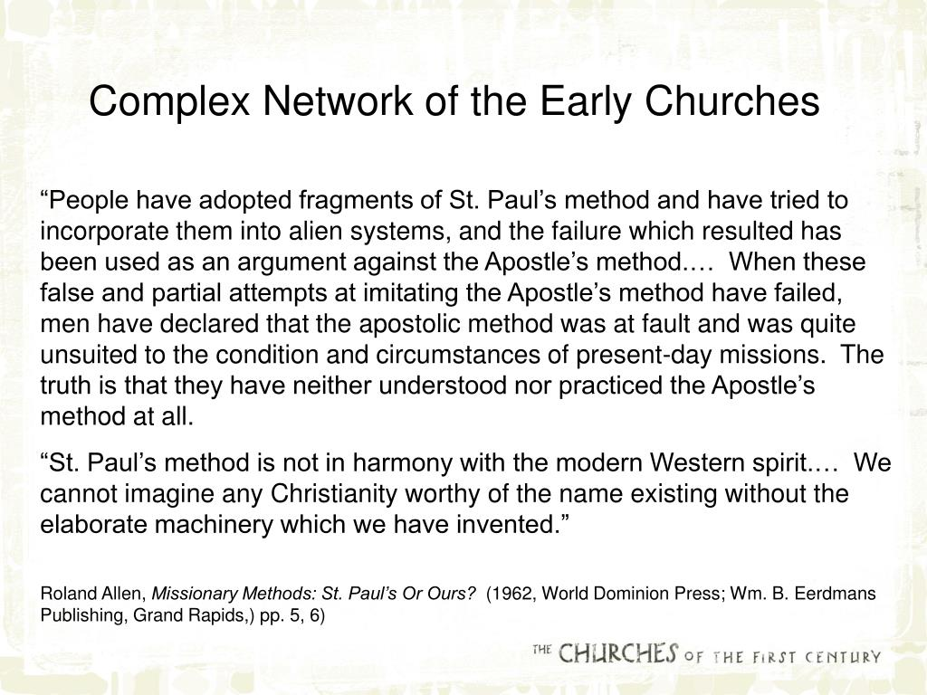 Complex Network of the Early Churches
