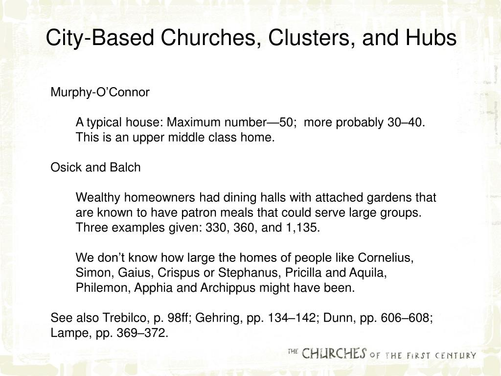 City-Based Churches, Clusters, and Hubs