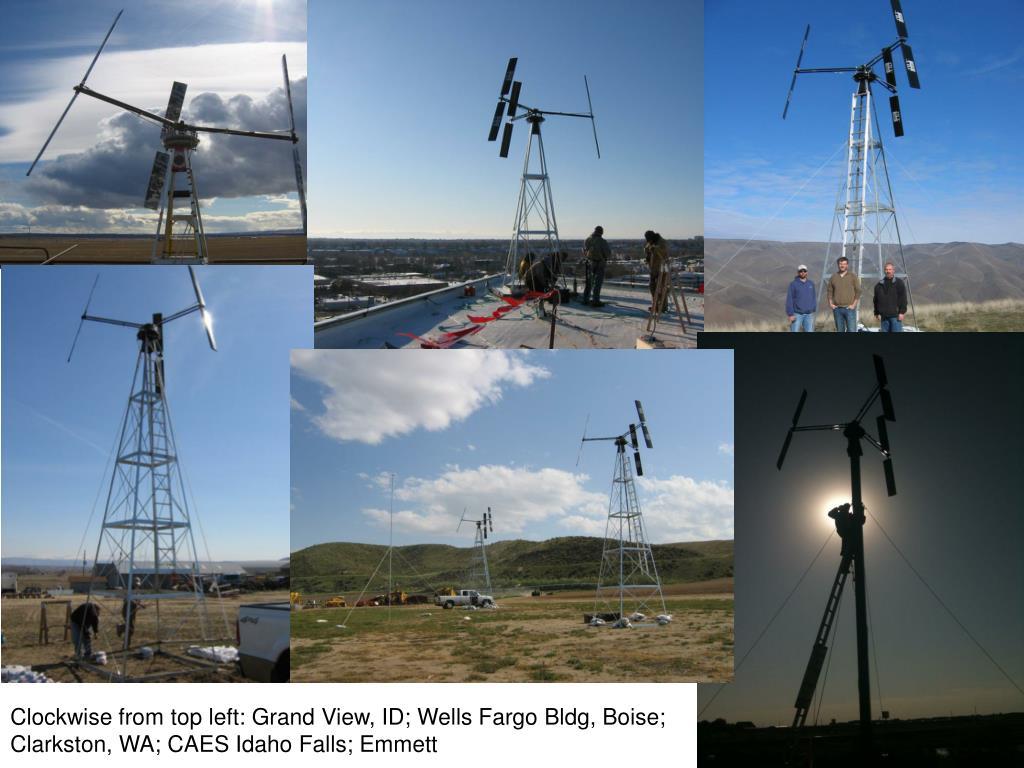 Clockwise from top left: Grand View, ID; Wells Fargo Bldg, Boise;