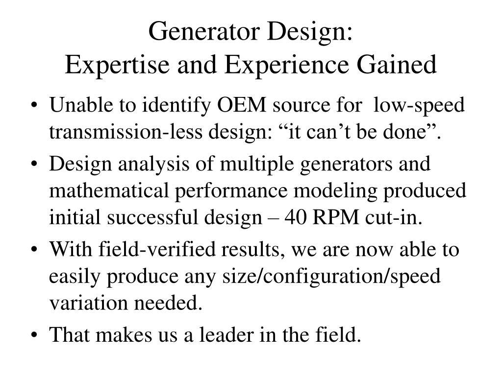 Generator Design: