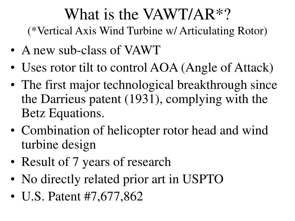 What is the VAWT/AR*?