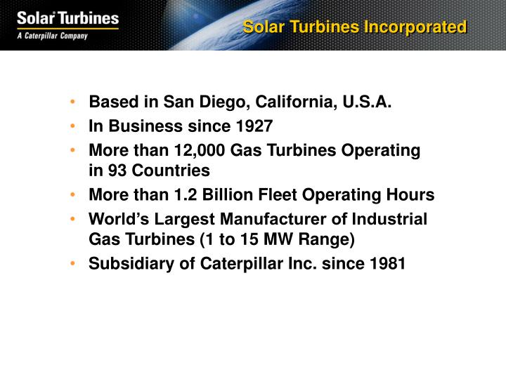 Solar turbines incorporated