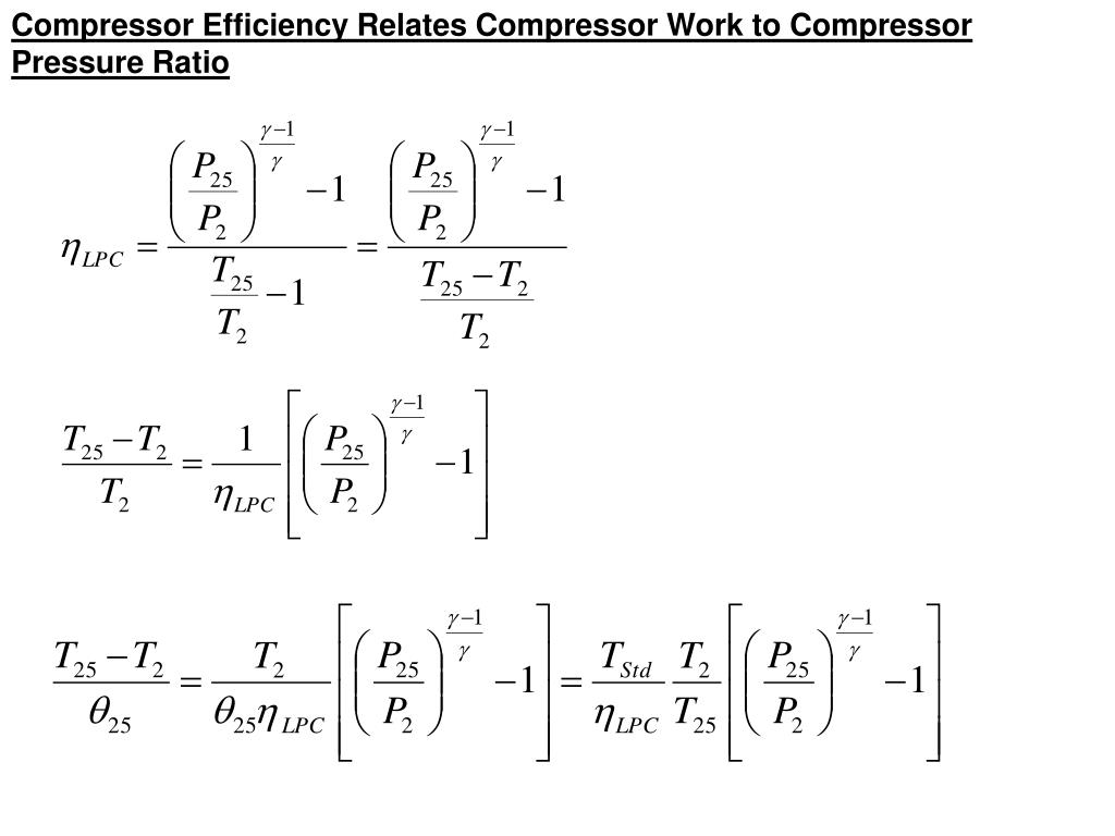 Compressor Efficiency Relates Compressor Work to Compressor Pressure Ratio