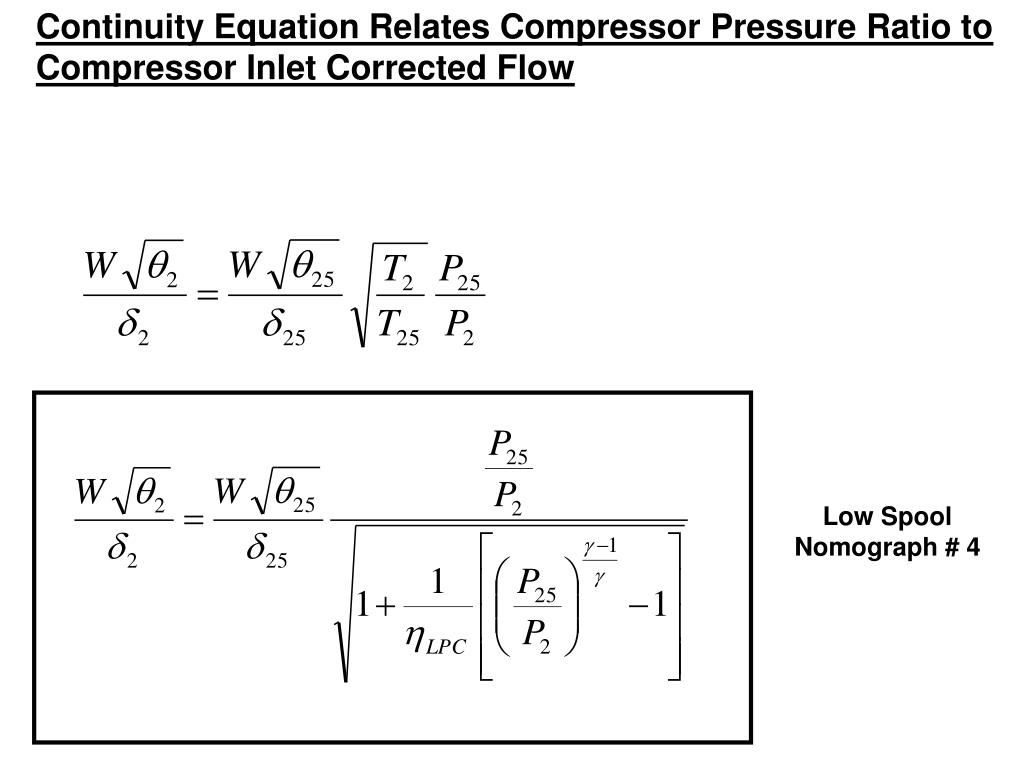 Continuity Equation Relates Compressor Pressure Ratio to Compressor Inlet Corrected Flow