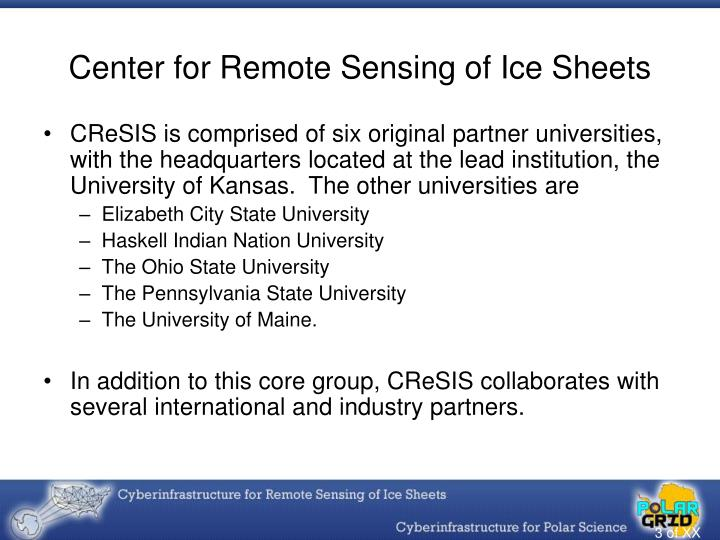 Center for remote sensing of ice sheets3