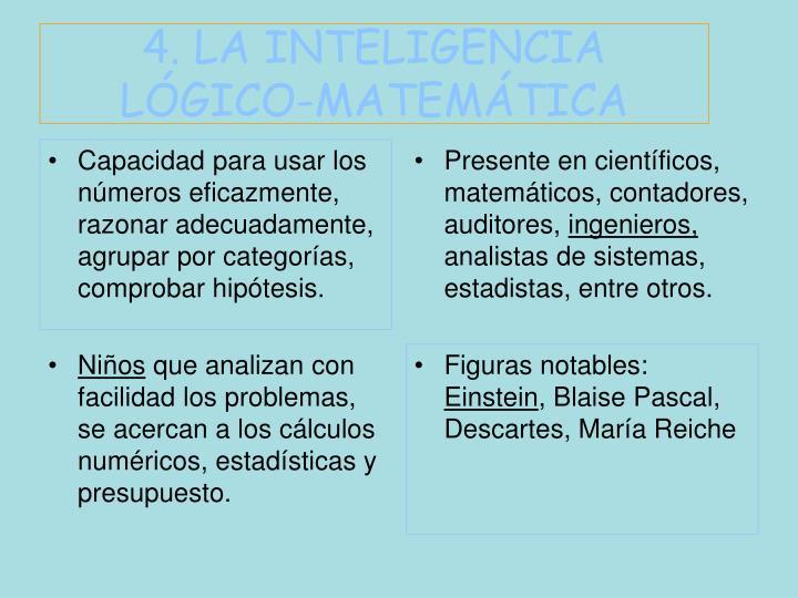 4. LA INTELIGENCIA LÓGICO-MATEMÁTICA