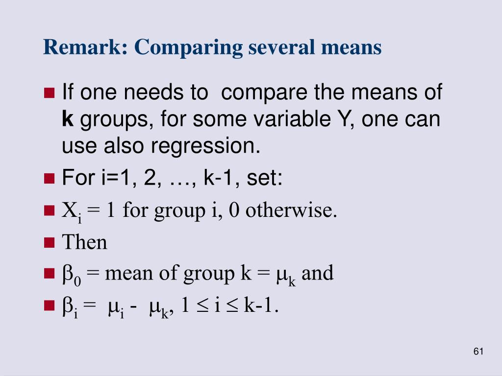 Remark: Comparing several means