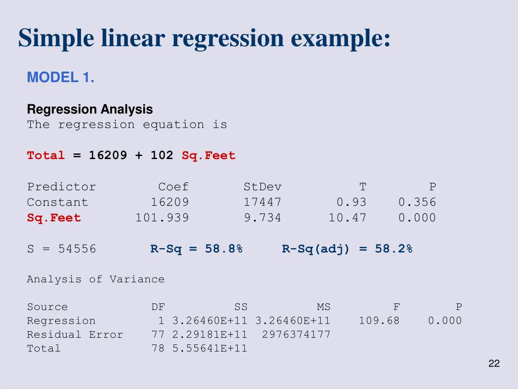 Simple linear regression example: