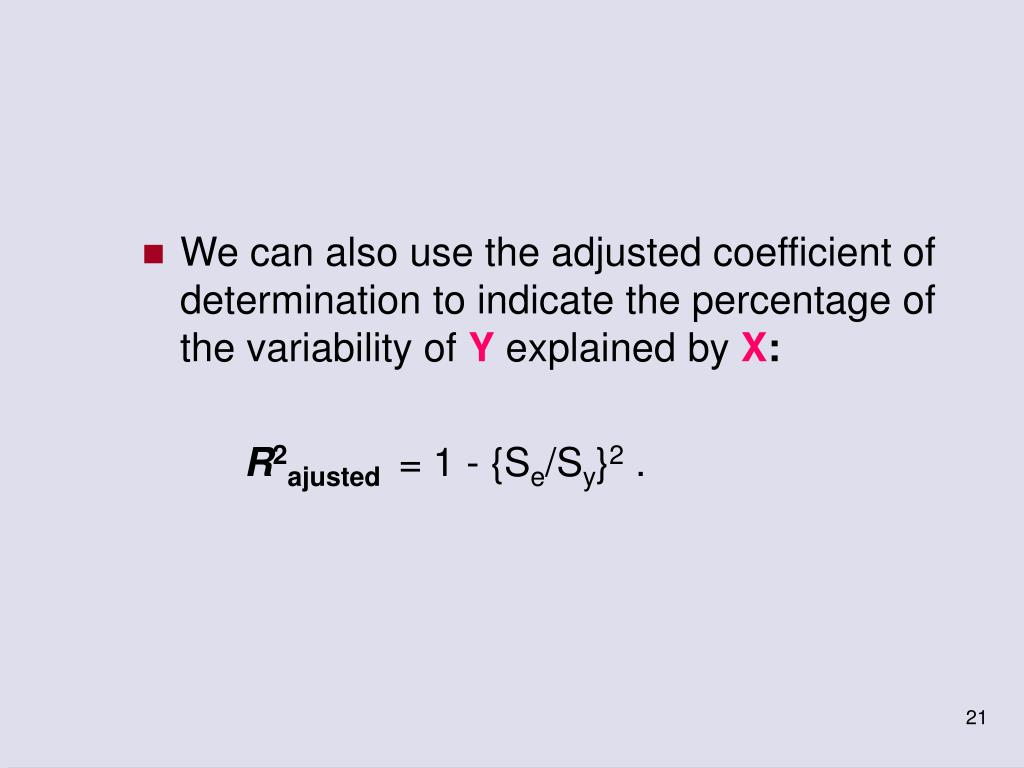 We can also use the adjusted coefficient of determination to indicate the percentage of the variability of