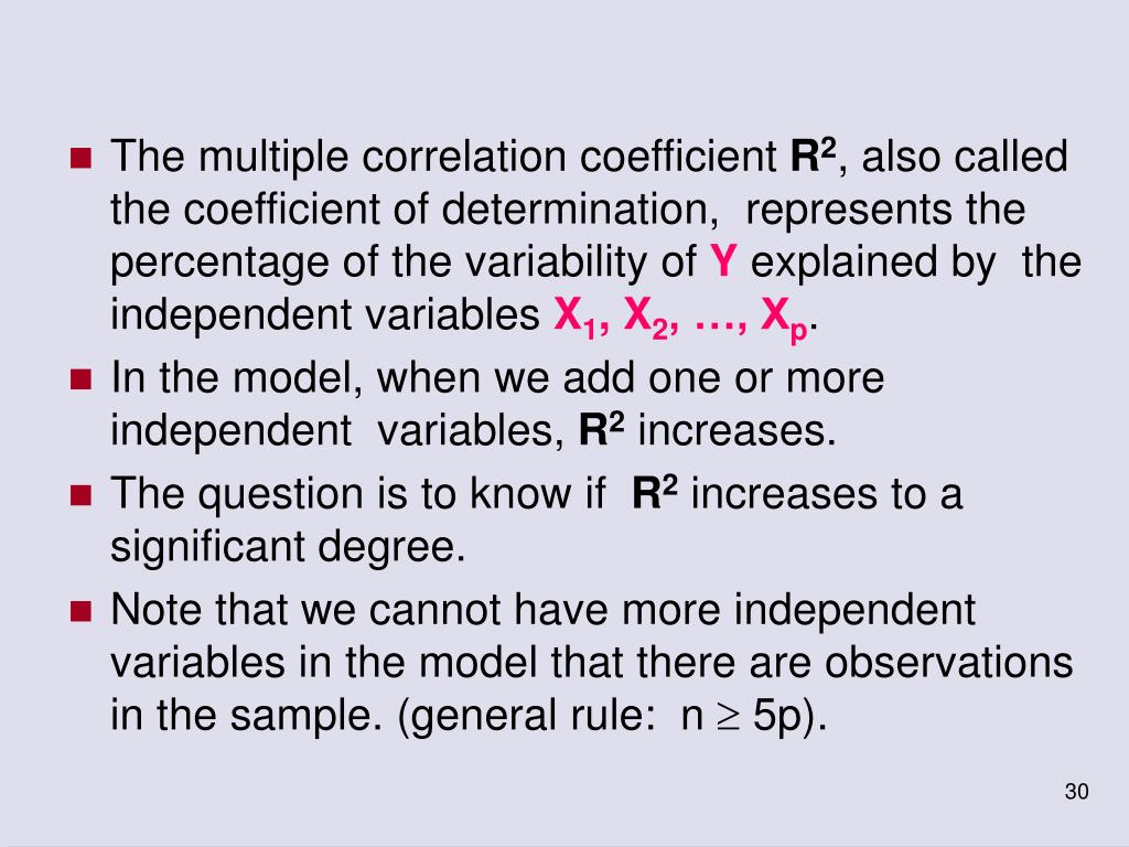 The multiple correlation coefficient
