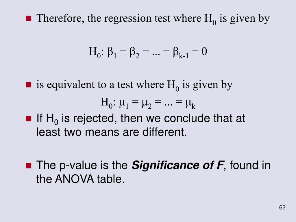 Therefore, the regression test where H