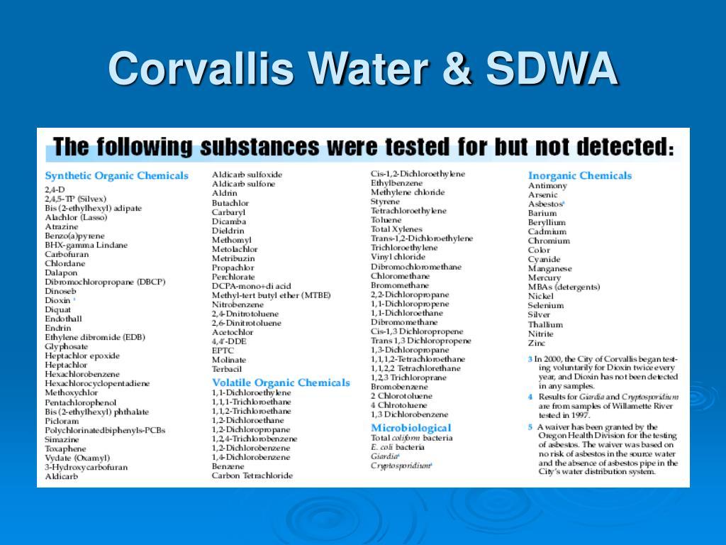 Corvallis Water & SDWA