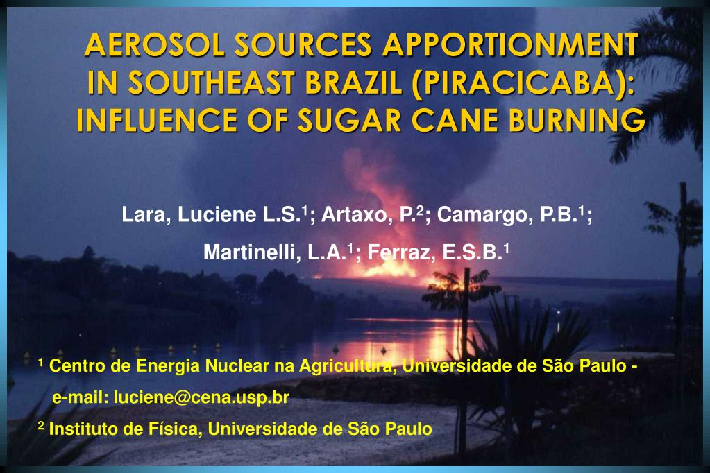aerosol sources apportionment in southeast brazil piracicaba influence of sugar cane burning