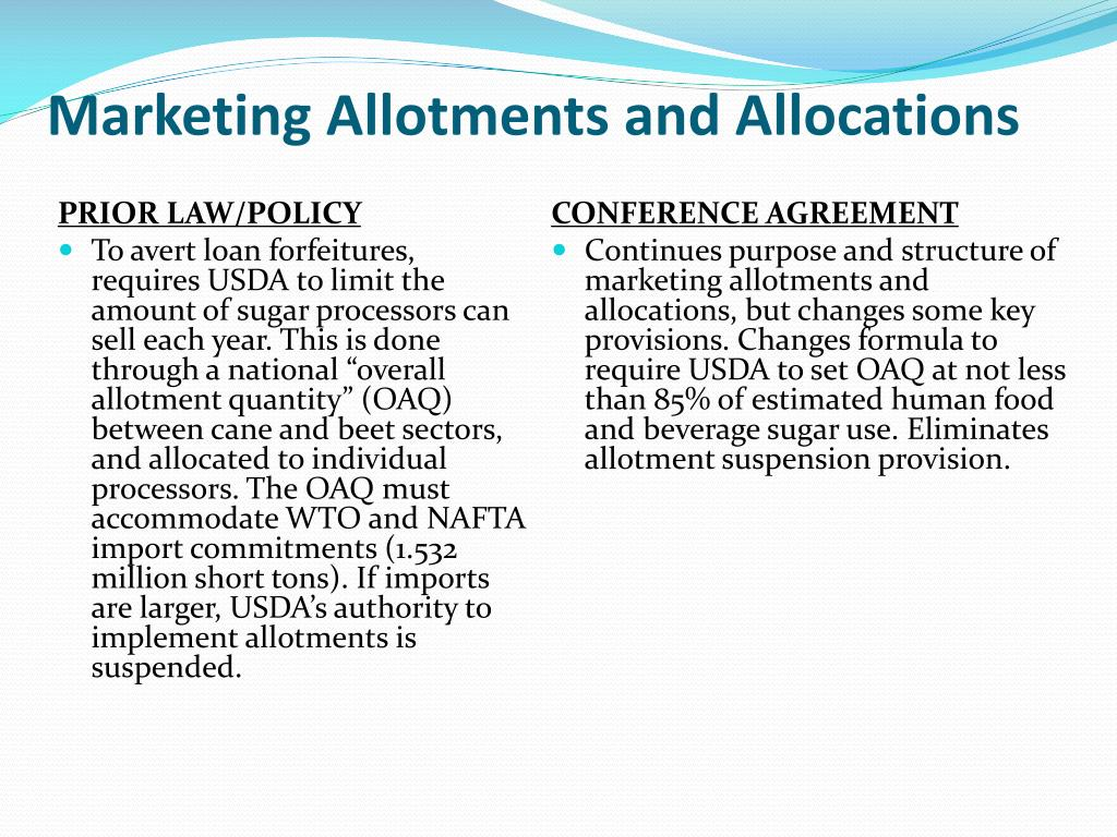 Marketing Allotments and Allocations