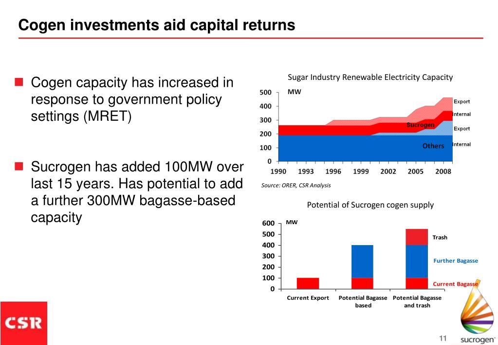 Cogen investments aid capital returns