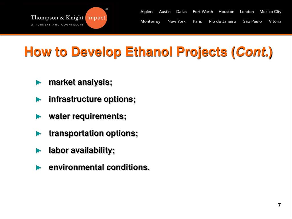 How to Develop Ethanol Projects (