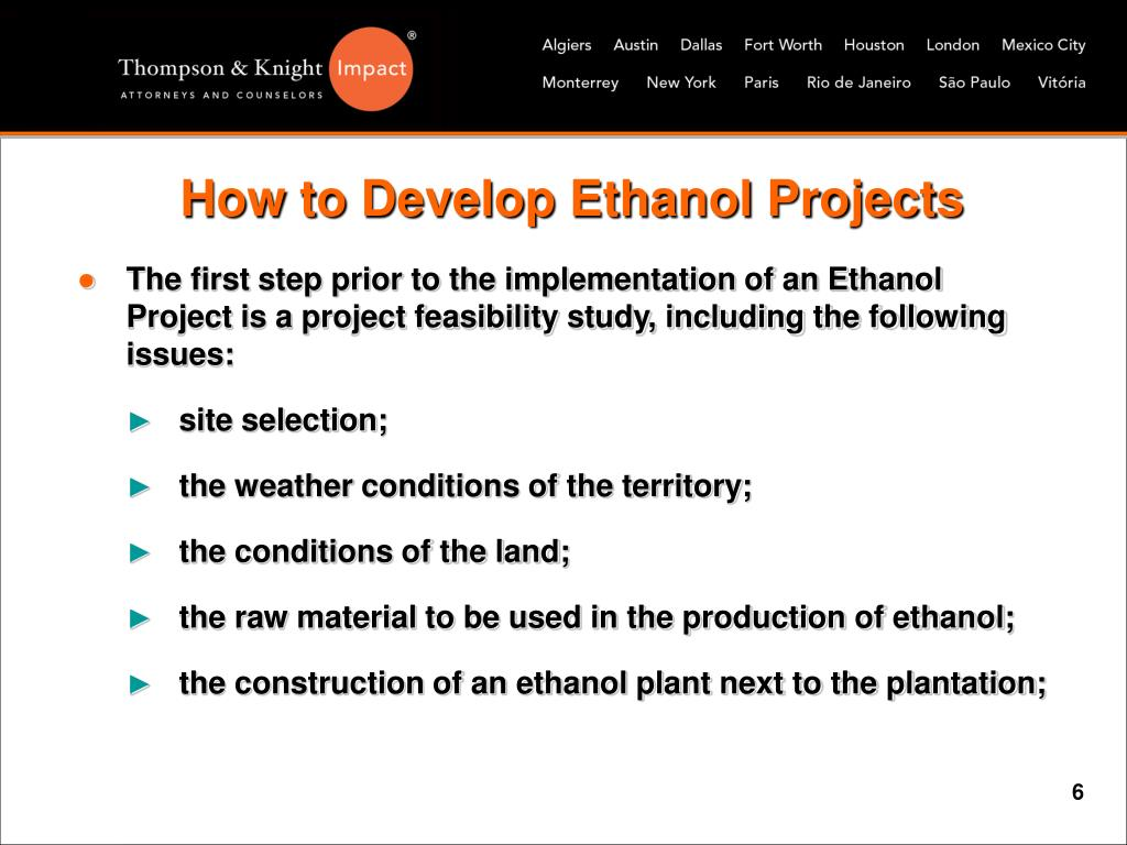 How to Develop Ethanol Projects