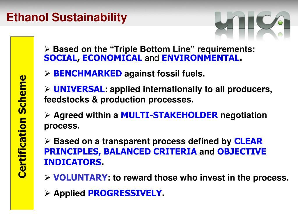 Ethanol Sustainability